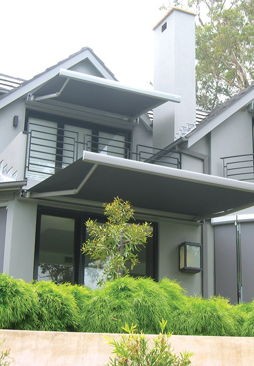 house with awnings