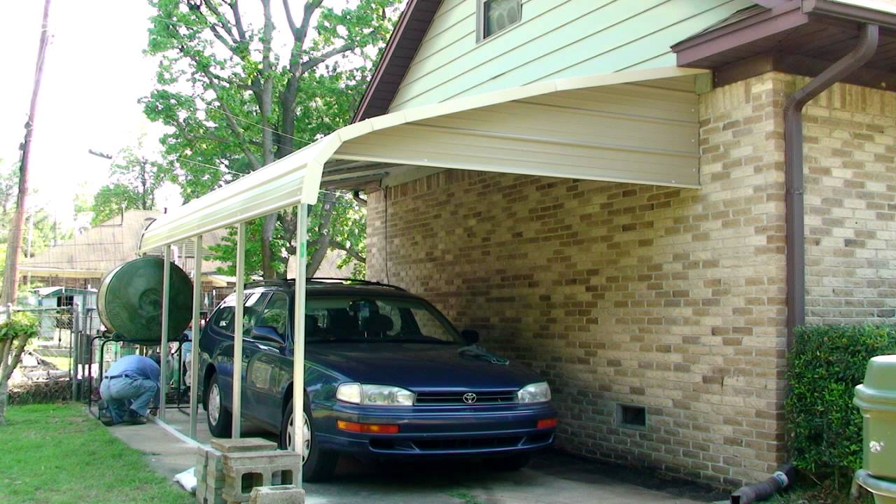 patio cover being used to protect a car