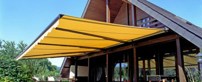 large yellow retractable awning